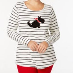 Charter Club Scottie Dog Bead Long Sleeve Size PL